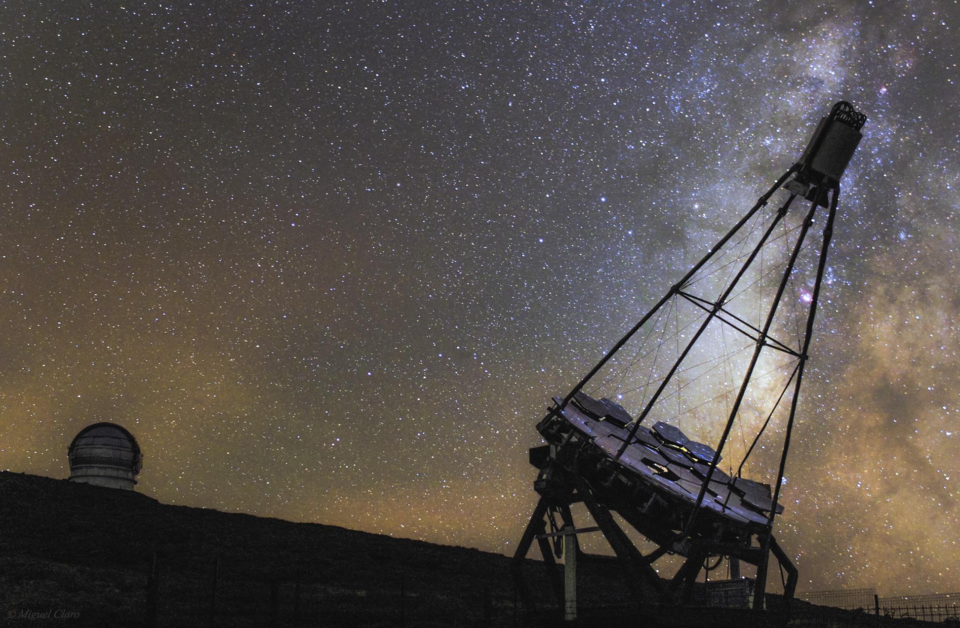 Gran Telescopio Canarias And Fact Telescope Against Milky