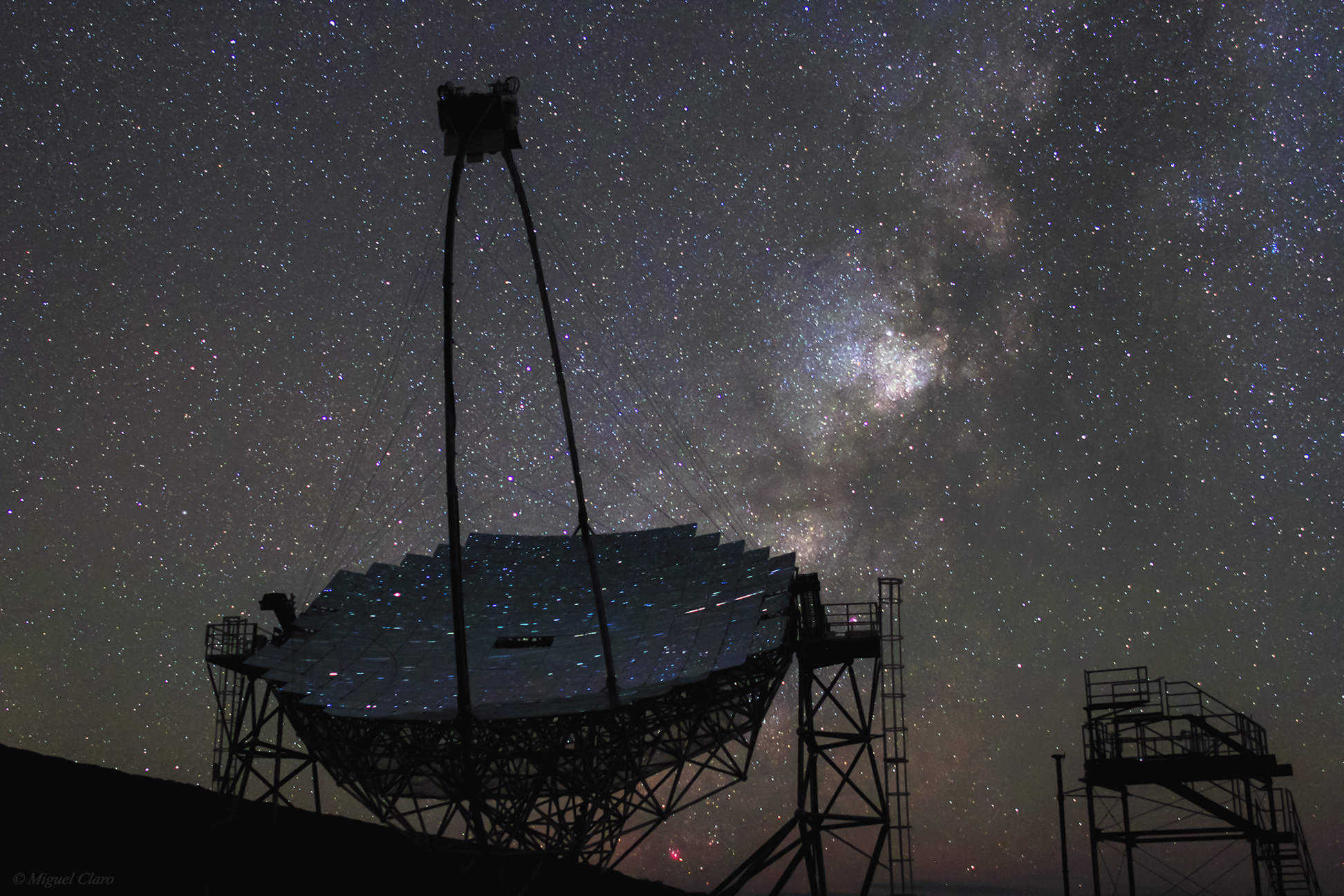 MAGIC telescope in La Palma and Milky Way by Miguel Claro - AstroMaster La Palma 2013