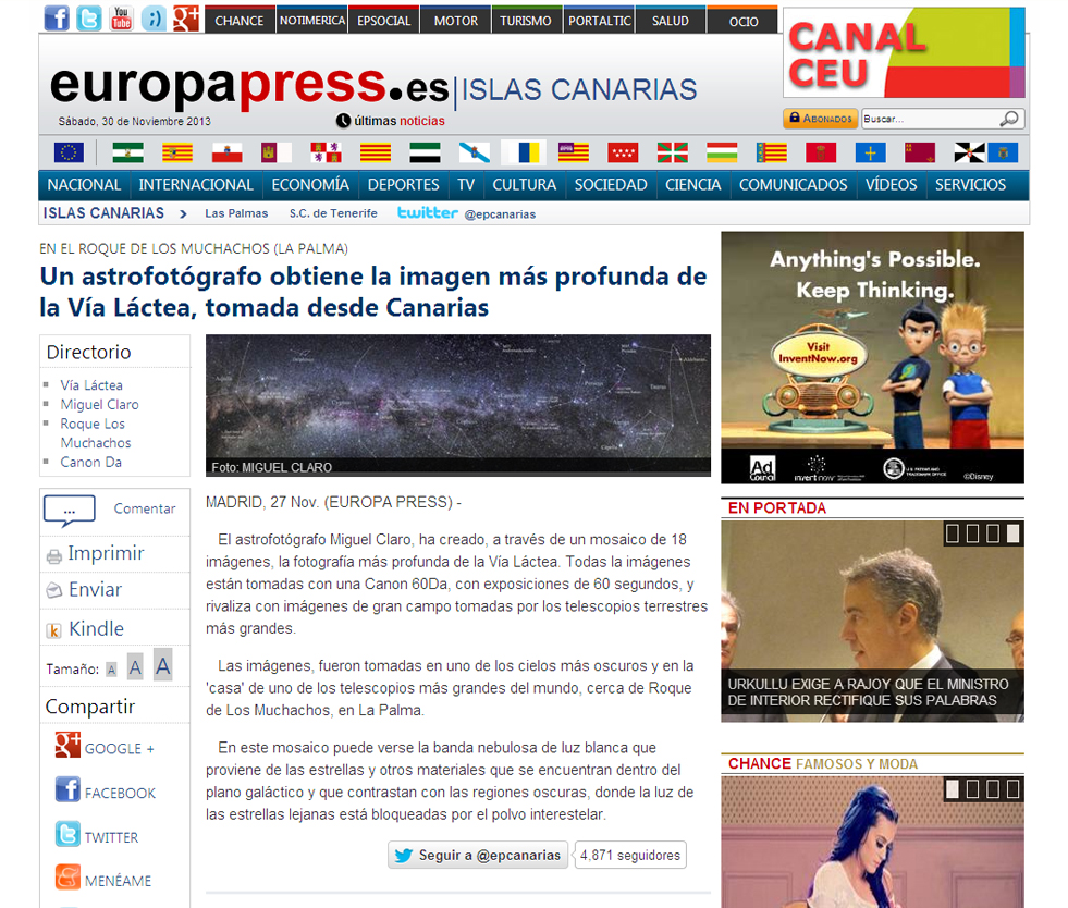 """Online News in Spain """"Europapress"""" – Article and Image – November ..."""