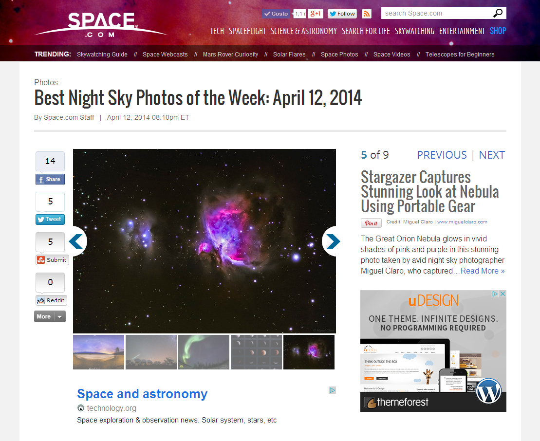 SpaceCom-BestNightSkPictureoftheWeek-April2014