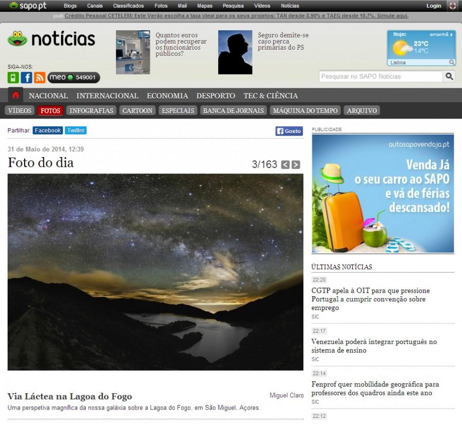 Sapo-ImagemdoDia-LagoaFogo-31-05-2014