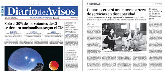 Spanish newspaper – Image published as cover of Diario de
